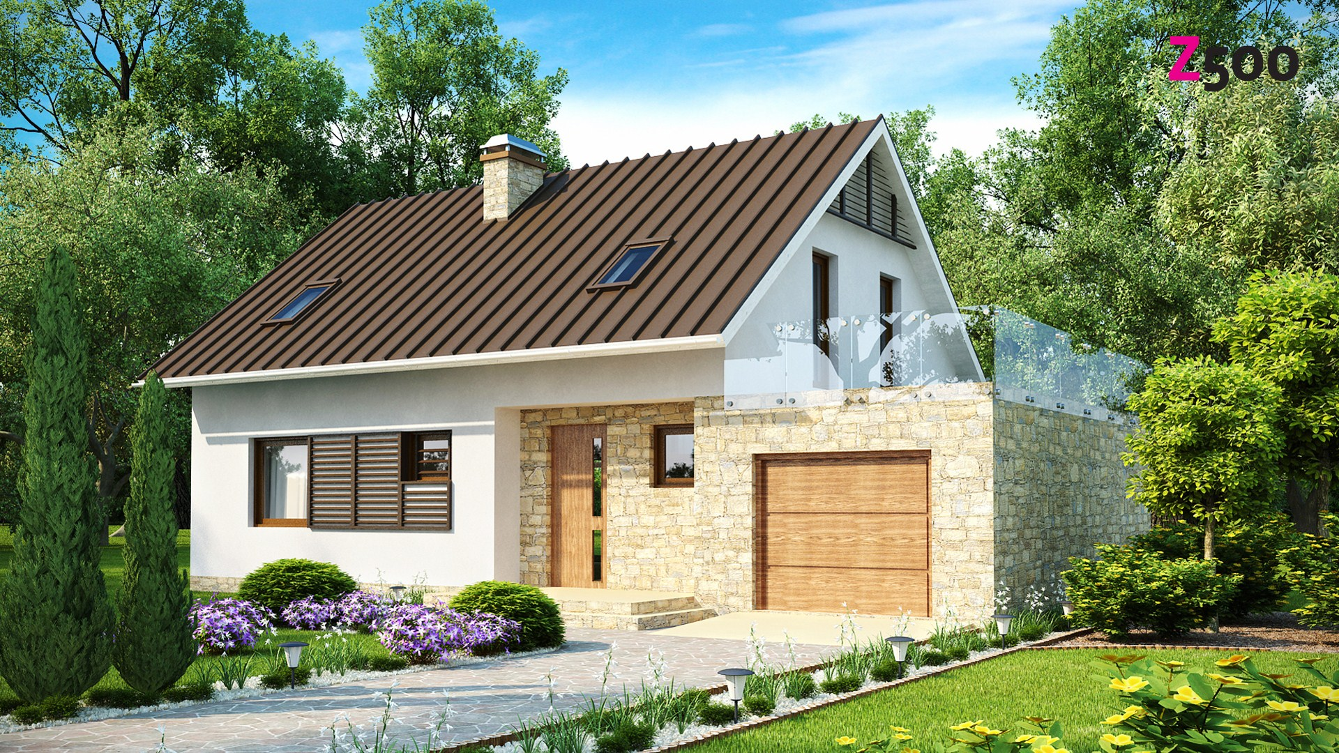 Готовый проект кирпичного дома с гаражом и большой террасой .