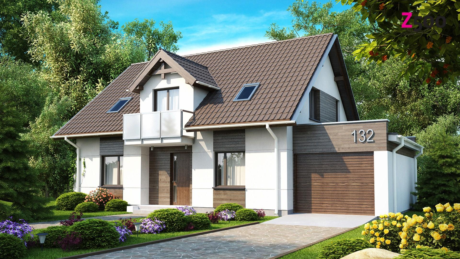 Проект дома z132: одноэтажный дом с двускатной крышей мансар.