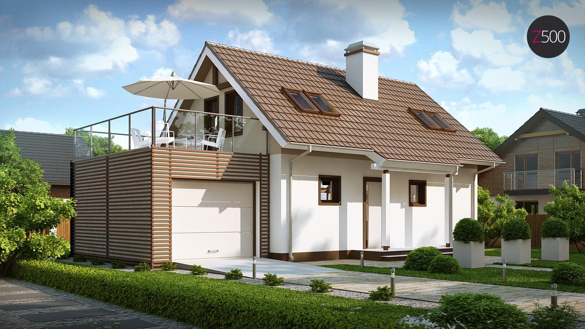 Z220 уютный дом с террасой над гаражом.