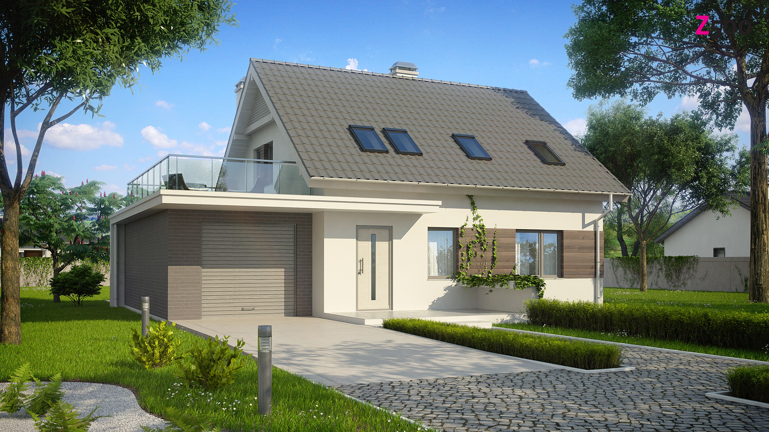 Проект небольшого одноэтажного дома с террасой над гаражом d.