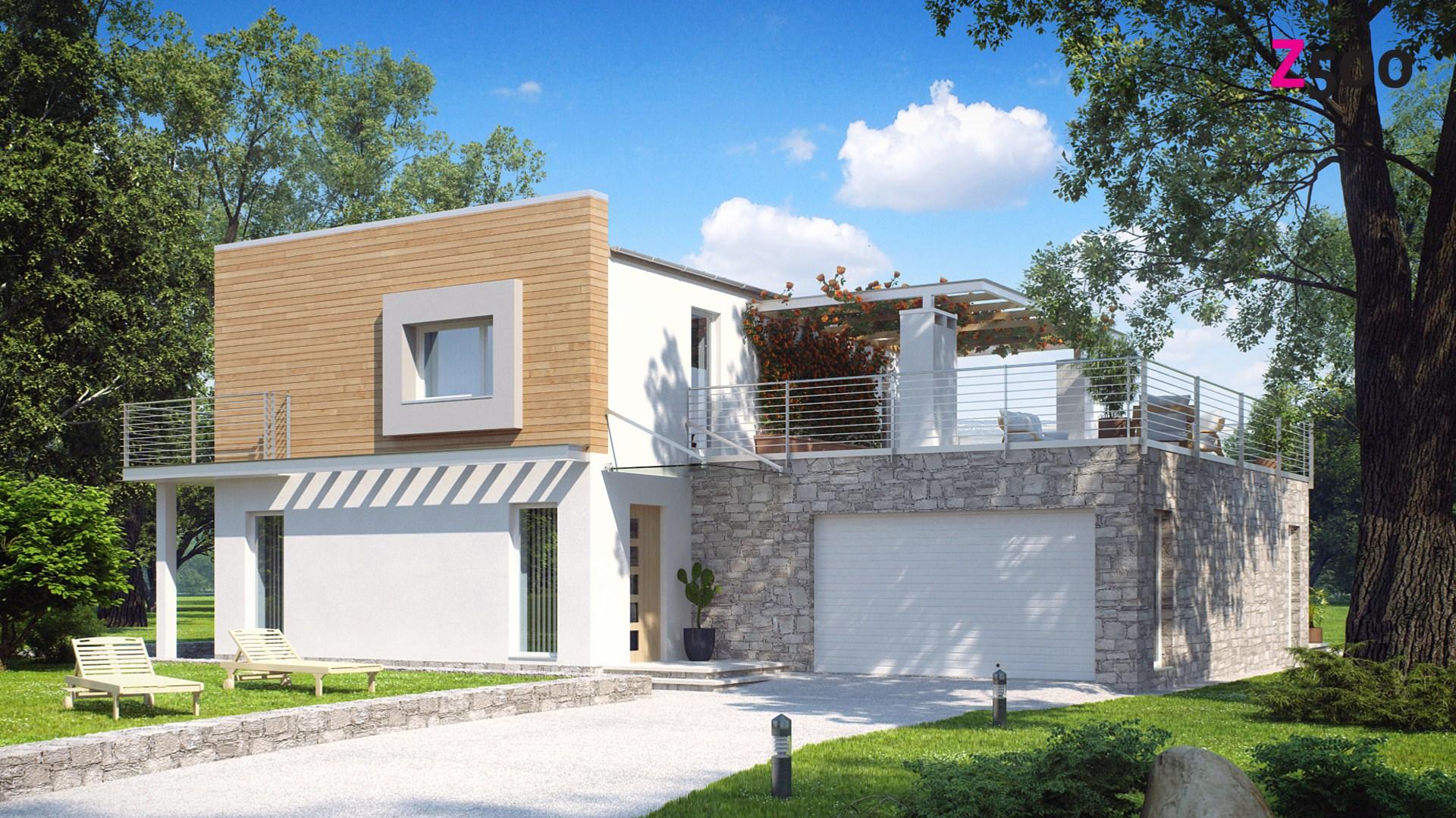 Проект дома zx3 двухэтажный дом с гаражом.
